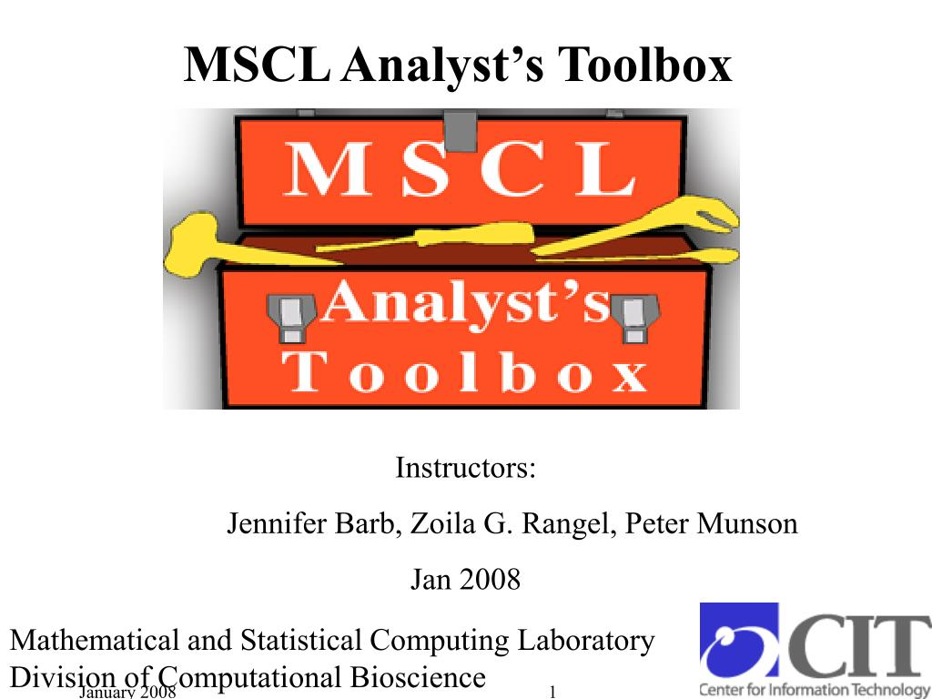 mscl analyst s toolbox l.