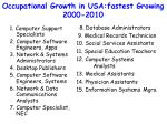 occupational growth in usa fastest growing 2000 2010