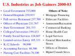 u s industries as job gainers 2000 03