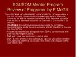 sgusom mentor program review of programs by f mcgill14