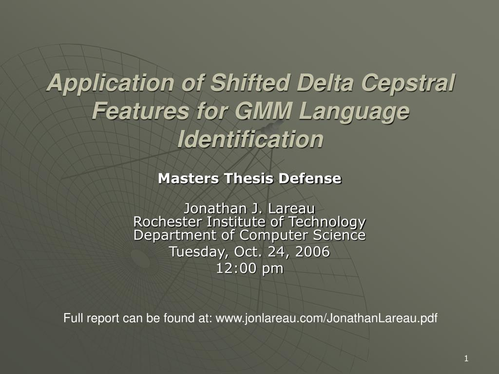 application of shifted delta cepstral features for gmm language identification l.