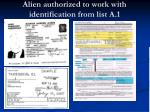 alien authorized to work with identification from list a 1