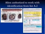 alien authorized to work with identification from list a 2