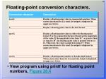 floating point conversion characters