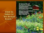 click to listen to an annual event