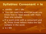 syllables consonant le