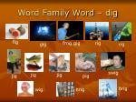 word family word dig