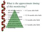 what is the approximate timing of this monitoring