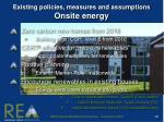 existing policies measures and assumptions onsite energy