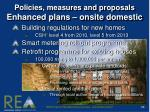 policies measures and proposals enhanced plans onsite domestic