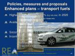 policies measures and proposals enhanced plans transport fuels