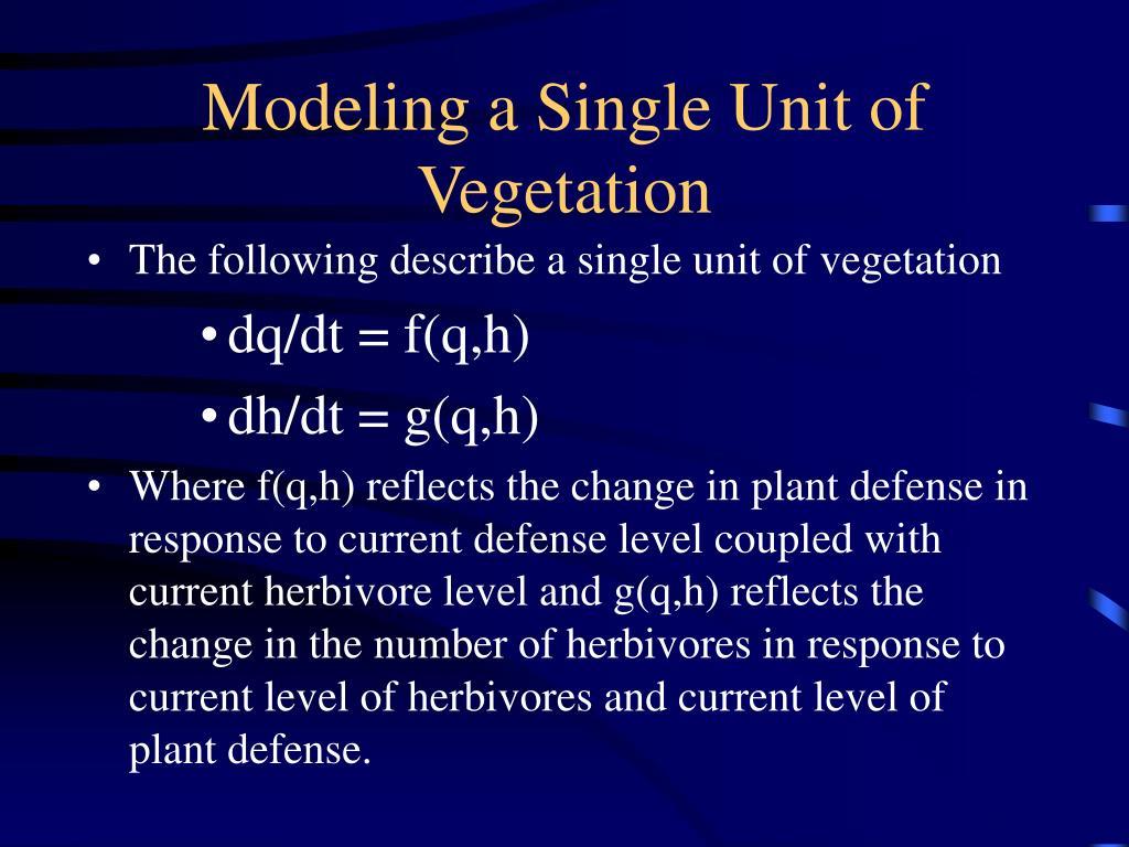 The following describe a single unit of vegetation