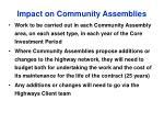 impact on community assemblies