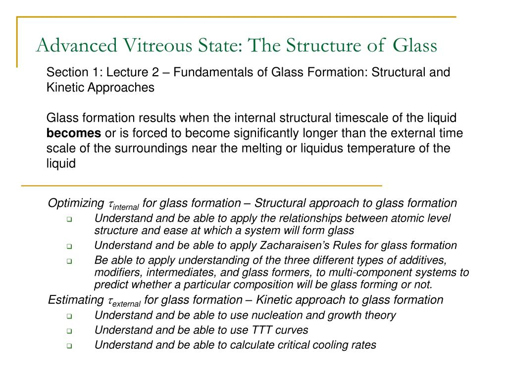 advanced vitreous state the structure of glass l.