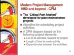 modern project management 1950 and beyond cpm