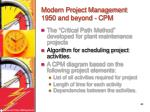 modern project management 1950 and beyond cpm43