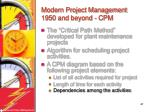 modern project management 1950 and beyond cpm47