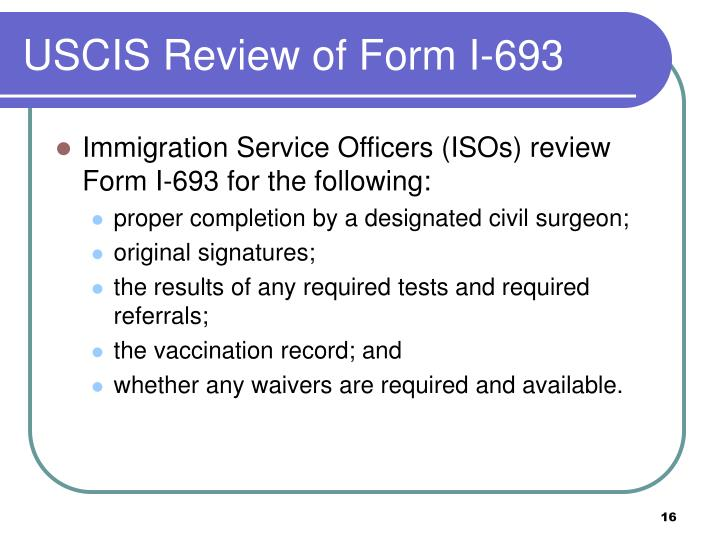 Ppt Form I 693 Report Of Medical Examination And Vaccination