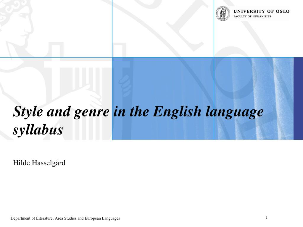style and genre in the english language syllabus l.