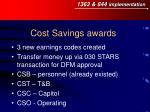 cost savings awards