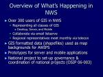 overview of what s happening in nws