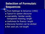selection of formulaic sequences