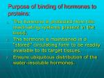 purpose of binding of hormones to proteins