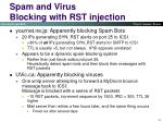 spam and virus blocking with rst injection