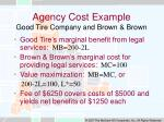 agency cost example good tire company and brown brown