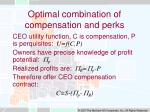 optimal combination of compensation and perks