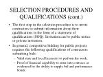 selection procedures and qualifications cont