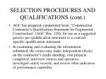 selection procedures and qualifications cont6