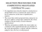 selection procedures for competitive negotiated contracts cont