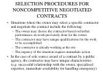 selection procedures for noncompetitive negotiated contracts