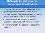 rationale for definition of non propositional words