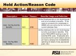 hold action reason code64