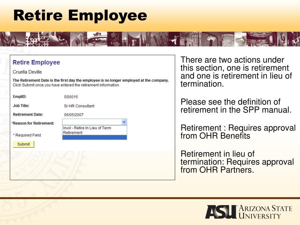Retire Employee