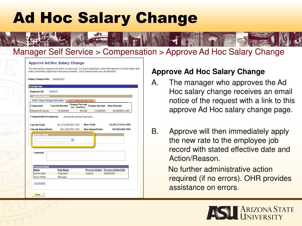 Ad Hoc Salary Change