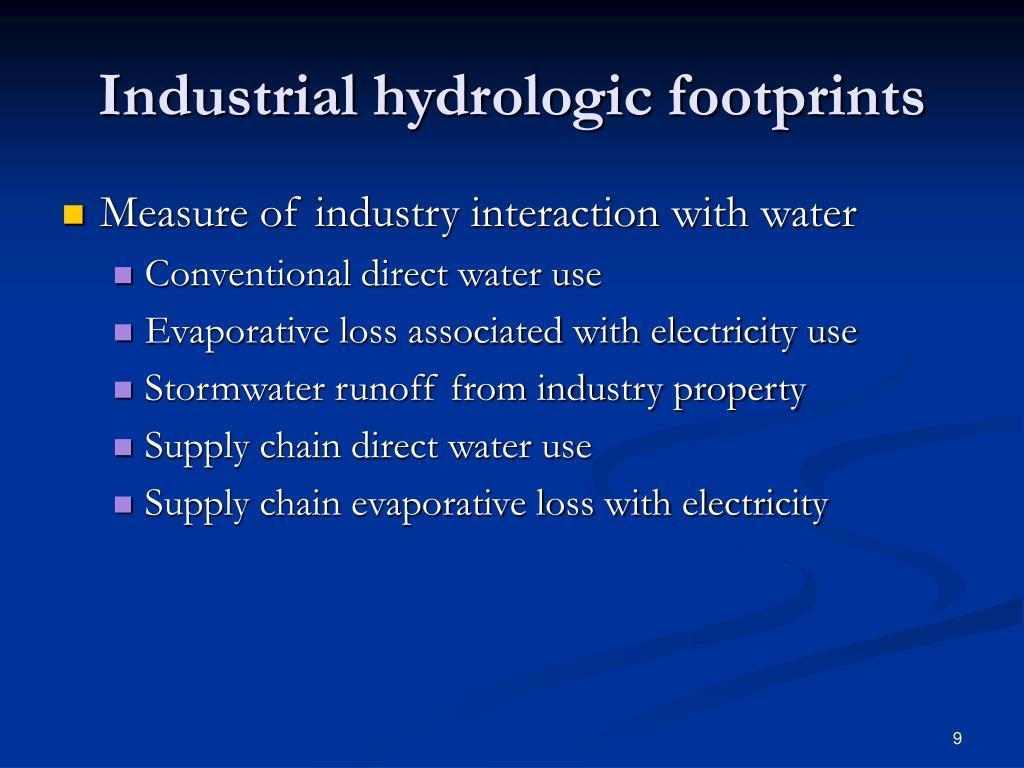 Industrial hydrologic footprints