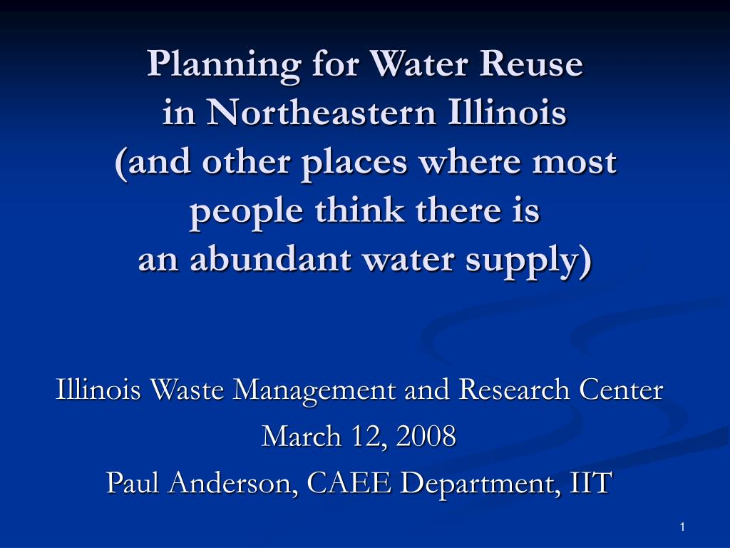 Planning for Water Reuse