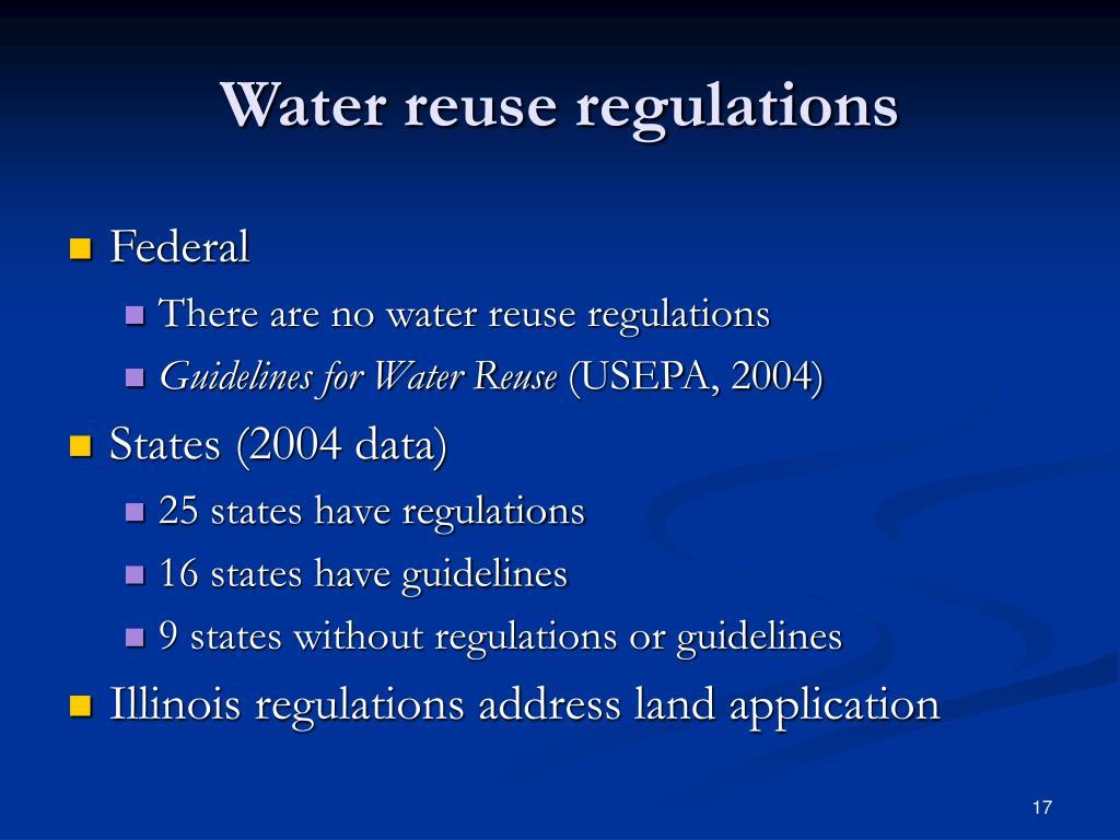 Water reuse regulations