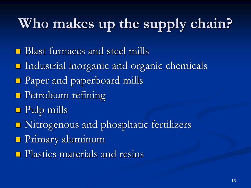 Who makes up the supply chain?