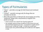 types of formularies