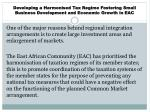 developing a harmonised tax regime fostering small business development and economic growth in eac