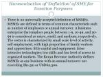 harmonisation of definition of sme for taxation purposes