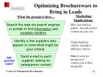 optimizing brochureware to bring in leads