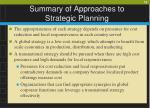 summary of approaches to strategic planning