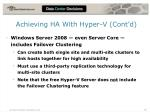 achieving ha with hyper v cont d
