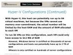 hyper v configurations continued
