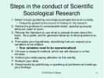 steps in the conduct of scientific sociological research